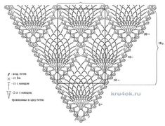 Pineapple shawl loose version -- a better image of the chart Crochet Shawl Diagram, Crochet Chart, Crochet Motif, Crochet Lace, Crochet Fabric, Crochet Blouse, Crochet Scarves, Shawl Patterns, Crochet Stitches Patterns