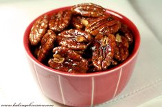 Sweet and Spicy Caramelized Pecans.These would be good in salads! On a side note I would substitue the corn syrup and white sugar for honey or maple syrup. (sugar substitutes for baking maple syrup) Recipes Appetizers And Snacks, Snack Recipes, Healthy Recipes, Desserts, Nut Recipes, Crockpot Recipes, Sugar Substitutes For Baking, Easy Bake Oven, Sweet And Spicy
