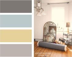 gray walls with accents of aquamarine and yellow