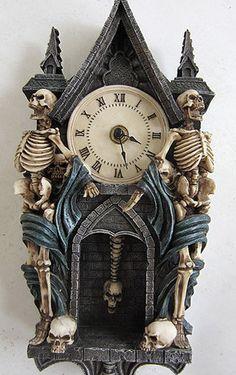Vintage Halloween Skeleton Pendulum Clock | eBay