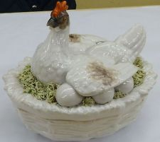 Superb Very Rare Antique Georgian c1820 Staffordshire Hen on Nest Egg Dish $2267.00