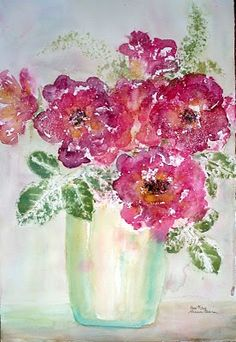 Real Roses watercolor  by Sharon Ferina