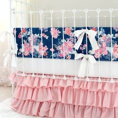 Navy Floral and Blush Pink Crib Bedding