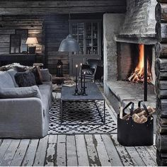 Snuggle up at home this winter. BFM specialise in the creation of rustic inter. Snuggle up at home this winter. BFM specialise in the creation of rustic interiors. Get in touch and see how we ca Log Home Interiors, Rustic Interiors, Cozy Cabin, Cozy House, Cabin Homes, Log Homes, Cabins And Cottages, Winter House, Cabana