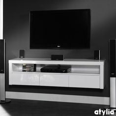 meuble tv design suspendu flow blanc mat atylia prix meuble tv ... - Meuble Tv Design Suspendu