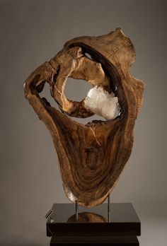 Organic, Acacia Wood, White Quartz Crystal Sculpture with a Stainless Steel Base and Lights by Fine Artist Dorit Schwartz