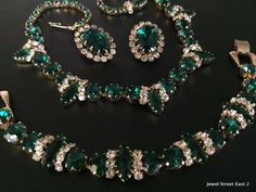 Unsign WEISS Vintage Earring Bracelet Necklace SET Parure Flower Rhinestone 13
