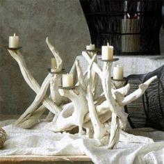 treibholz kerzenhalter  - weiße gestaltung - Wunderbare Treibholz Deko, die auch praktisch sein kann – 45 verblüffende Ideen