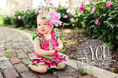 Hot Pink and Lime Over The Top  Bow M2M Mud Pie Little Sprout on Matching Headband Free Shipping On All Addional Items. $18.00, via Etsy.