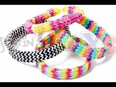 Rainbow Loom FLEXAFISH (Flat Hexafish) Bracelet - One Loom. Designed and loomed by Rob at justinstoys. Click photo for YouTube tutorial. 04/11/14.