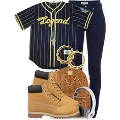 bag dope jacket school pants jersey cute swag on point pants timberlands earrings backpack headphones beats by dr dre navy gold jeans dope wishlist top baseball jersey shirt baseball navy yellow Hipster Outfits, Hip Hop Outfits, Cute Swag Outfits, Teen Fashion Outfits, Dope Outfits, Urban Outfits, Trendy Outfits, Fall Outfits, Tims Outfits
