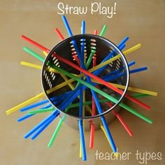Fun with Straws | Simple Toddler Play. You could also add a marble to this and see if the kids can make the marble stay without letting it fall through