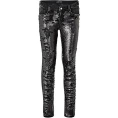 MARCIANO SEQUIN JEANS (5.835 RUB) ❤ liked on Polyvore featuring jeans, marciano, marciano jeans and sequined jeans