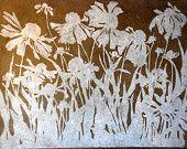 Wildflowers Silhouette, relief woodcut