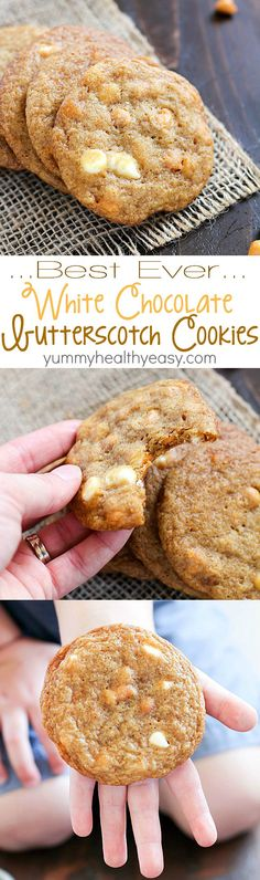The Best Ever White Chocolate Butterscotch Cookies - these are incredible! White chocolate and butterscotch chips melted inside buttery, soft cookies. To-die-for.