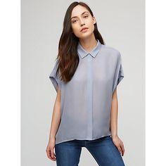 Buy Jigsaw Square Cut Silk Shirt, Dusky Blue Online at johnlewis.com