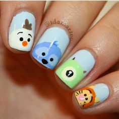 Topic for cute easy nail art disney : nails ideas fair cute easy Disney Nail Designs, Best Nail Art Designs, Simple Nail Designs, Cartoon Nail Designs, Animal Nail Designs, Trendy Nail Art, Cute Nail Art, Easy Nail Art, Kawaii Nail Art