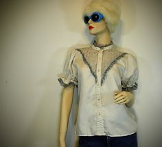 vintage 1950s peek a boo lace and ruffles shirt by jetsetvintage, $32.00