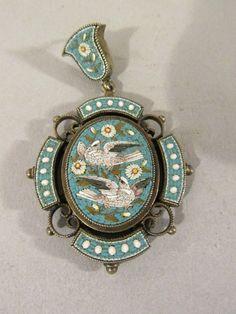 Antique Victorian Italian Micro Mosaic Pendant set in Silver locket hair photo…