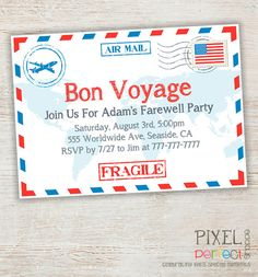 Travel / Farewell Party Invitation, Bon Voyage - Going Away Party Invitation by PixelPerfectShoppe on Etsy @tiffynickee I can have this in 24 hours