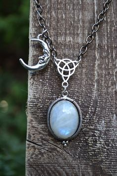 rainbow moonstone & moon necklace <3