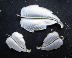 Vintae earrings and brooch set -Danish Modern leaf Sterling Silver and white Guilloche enamel set- Volmer Bahner signed