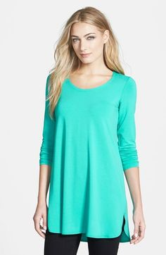 Eileen Fisher Scoop Neck Jersey Tunic (Regular & Petite) available at #Nordstrom, Seabreeze, $148