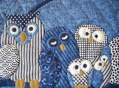 Quilt Owl Quilt sewing directory, could also be done with kitty cats, etc. Owl Quilts, Bird Quilt, Animal Quilts, Patchwork Quilting, Applique Quilts, Owl Applique, Hand Quilting, Quilting Projects, Quilting Designs