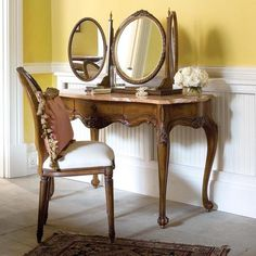 Corbiere Dressing Table - Dressing Tables and Desks - By Type - Bedroom Furniture Dressing Table Triple Mirror, Small Dressing Table, Dressing Tables, Dressing Room, Oak Bedroom Furniture, Pallet Patio Furniture, Furniture Layout, Antique Furniture, Coral Painted Furniture