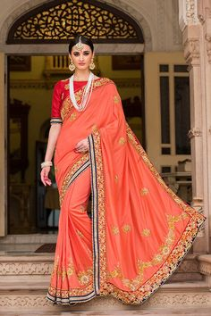 Peach Color Silk Fabric Saree