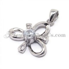 925 Silver Clover Pendant with Zircon with Free Chain