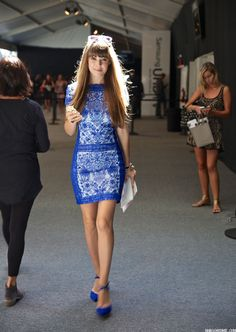 @jennybernheim of Margo  Me wears our Embroidered Lace Cap Sleeve Sheath Dress in bold Blue Lagoon.
