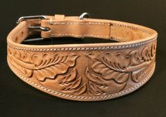 Greyhound / Lurcher / Whippet Leather Collar with Tooled Decoration Fancy Dog Collars, Dog Collars & Leashes, Leather Dog Collars, Leather Belts, Leather Tooling, Leather Carving, Leather Bracelets, Coach Dog Collar, Led Dog Collar