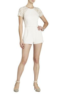 Love love this lace short sleeve BCBG romper. Plain yet elegant and perfect to pair with tons of jewelry ;)
