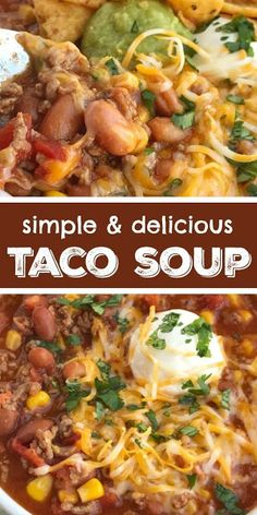 Beef recipes easy - Simple Taco Soup Taco Soup Recipe Ground Beef Recipe Taco soup has all the flavors of a taco but in a warm & comforting soup Simple ingredients and 30 minutes is all you need for the best taco Easy Taco Soup, Easy Soup Recipes, Dinner Recipes, Healthy Taco Soup, Simple Taco Soup Recipe, Taco Stew Recipe, Chicken Recipes, Chicken Taco Soup, Hamburger Soup