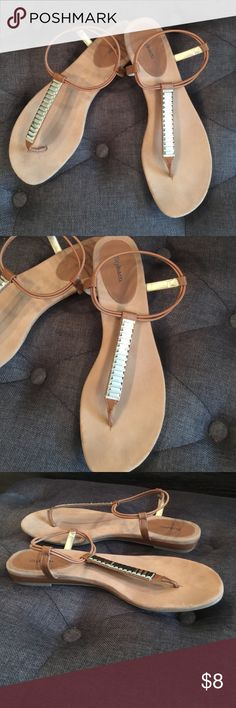 Tan and gold sandals Tan an gold sandals size 9.5 slightly worn Macy's Shoes Sandals