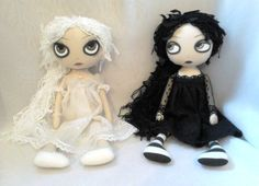 Gothic Art Rag Dolls  Crystal & Raven RESERVED by ChamberOfDolls