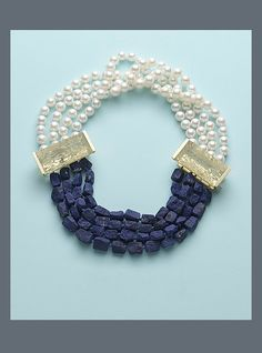 N-2231 Four strands of Afghan Lapis beads and white Freshwater Chinese Pearls with two mirror-cut golden Beryl prisms, one with Bayonet clasp, 18K yellow Gold