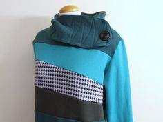 TWISTED TEAL  Hoodie Sweatshirt Sweater  Recycled by MungoCrafts, $77.00