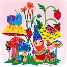 """Emma Jayne on Instagram: """"Teeny weeny gnome amongst the colourful mushrooms and garden creatures. Wishing you a Happy Friday! 🍄🐌🐞🍂 @emmajayne_designs…"""" Bujo, Gnome Garden, Happy Friday, All The Colors, Rooster, Stuffed Mushrooms, Creatures, Colours, Drawings"""