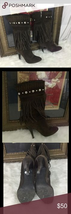 "🆕Listing. Guess Boho Chic Leather Fringe boots. 6 How amazing are these Guess brown fringe leather studded boots.  Heel height 4"".  In good condition tiny knock on the heel.  Can hardly see it. Guess by Marciano Shoes Heeled Boots"