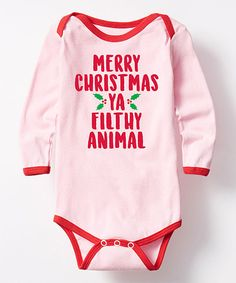 Pink & Red Merry Christmas Ya Filthy Animal Bodysuit - Infant | zulily