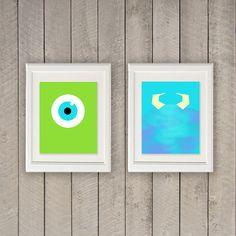 Impresiones minimalistas de Monsters, Inc.