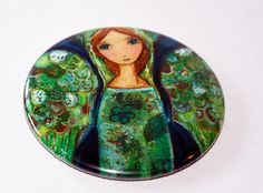 New! Angel Verde  Pocket Mirror Original Art by Flor by FlorLarios, $8.00