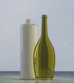 HENK BOON Beeldend kunstenaar : Compositie groene fles en kruik, Olieverf/paneel, 62 X 55 cm