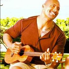 "Dwayne ""The Rock"" Johnson with ukulele....hot!"