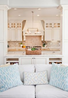 Family room leading to open kitchen in beachy style | House of Turquoise: Erin Hedrick Design @Erin Hedrick