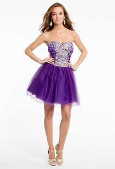 Strapless Beaded Tulle Dress with Corset Tie   Camillelavie.com
