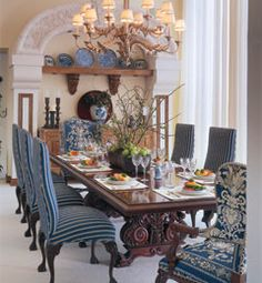 Blue and White Diningroom