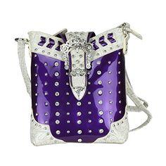 Purple Bling Crossbody Bag w/ Embossed Patent Vegan Leather, Rhinestone Purse